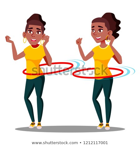 Stock photo: Young Athletic Black Afro American Girl Rotates Hula Hoop Vector. Isolated Illustration