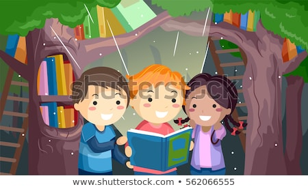 Stickman Kids Books Reading Illustration Stock photo © lenm