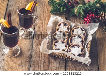 Stock photo: Mince pies with mulled wine