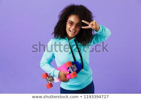 アフリカ 少女 ポーズ 孤立した バイオレット ストックフォト © deandrobot