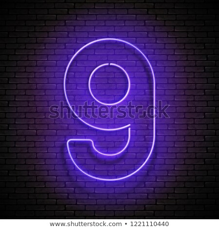 Vintage Glow Signboard with Number Nine, Design Element Stock photo © lissantee