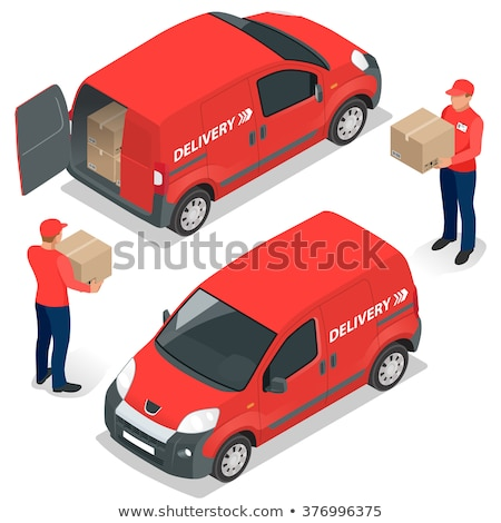 delivery car and person 3d vector illustration stock photo © robuart