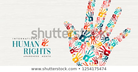 Human Rights card of colorful people hand prints Stock photo © cienpies