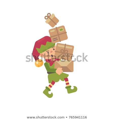 Cute busy Christmas elf carrying parcels with presents for kids. stock photo © IvanDubovik