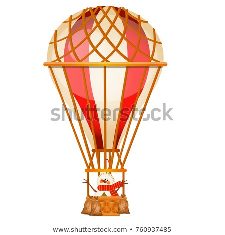 Bright aerostat with snowman isolated on white background. Vintage air transport for trip around the Stock photo © Lady-Luck