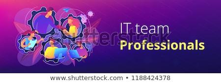 dedikált · csapat · dolgozik · egy · szoftver · fejlesztés - stock fotó © rastudio