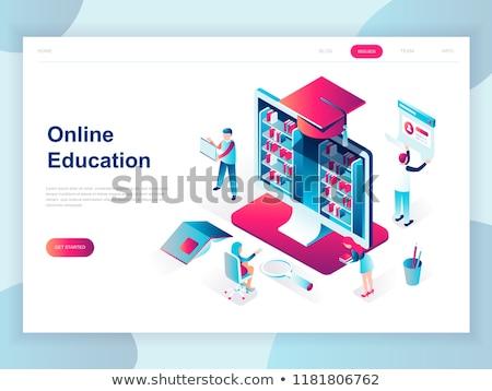 Online oktatás izometrikus 3D leszállás oldal Stock fotó © RAStudio