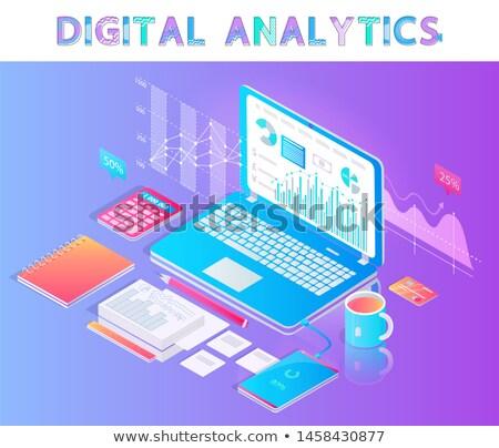 Digital analítica emblema portátil escritorio vector Foto stock © robuart