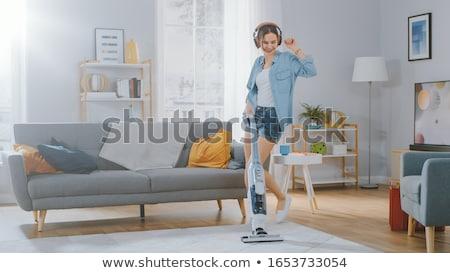 Nő háziasszony porszívó otthon háztartás házimunka Stock fotó © dolgachov