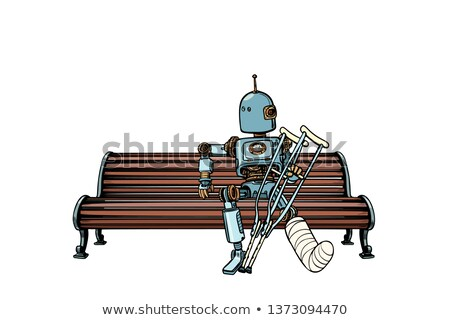 Roboter Beinbruch Gips Park Pop-Art Retro Stock foto © studiostoks