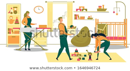 man cleaning shelf with cloth at home Stock photo © dolgachov