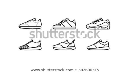 Beyaz ayakkabı dizayn siyah çiçek kâğıt Stok fotoğraf © Vicasso