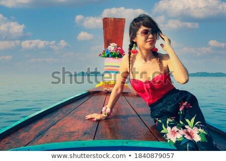 Японский девушки лодка иллюстрация воды Сток-фото © colematt