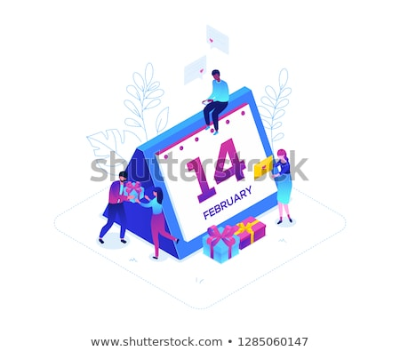 st valentines day   modern colorful isometric vector illustration stock photo © decorwithme