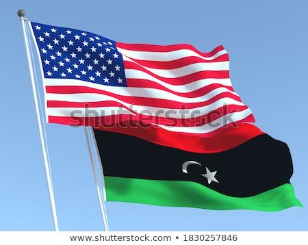 Сток-фото: два · флагами · Соединенные · Штаты · Ливия · изолированный