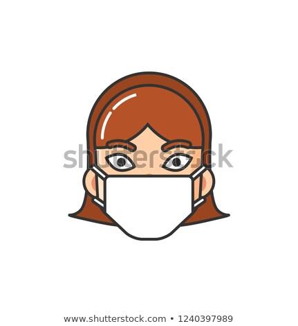 lány · tüsszentés · köhögés · bacilusok · illusztráció · gyermek - stock fotó © robuart
