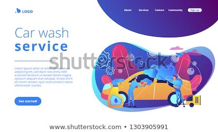Car wash dienst landing pagina auto wassen Stockfoto © RAStudio