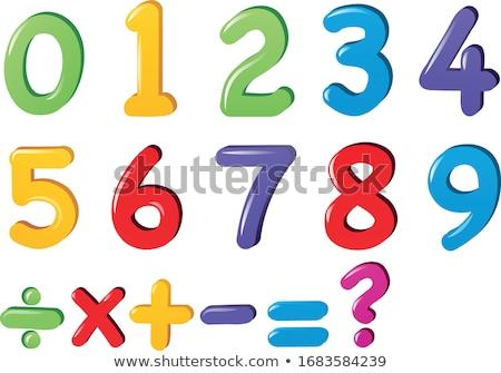 Set of number and math symbol Stock photo © colematt