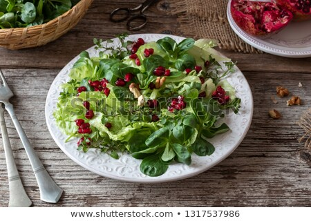 spring salad with chickweed nut lettuce and pomegranate stock photo © madeleine_steinbach