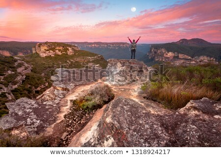 Woman standing on summit rock ledge views of sunrise valley Stock photo © lovleah