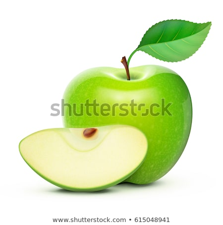 Ripe Apple Fruit with Leaf Isolated Icon Vector Stock photo © robuart