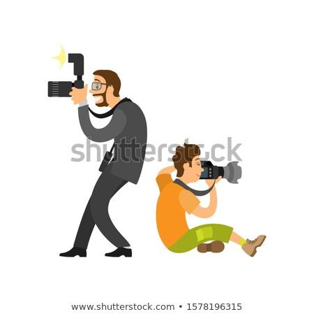Szabadúszó elvesz fotó mindkettő újságíró szemüveg Stock fotó © robuart
