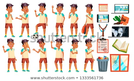 Arab, Muslim Boy Schoolboy Kid Poses Set Vector. High School Child. School Student. Athlete, Footbal Stock photo © pikepicture