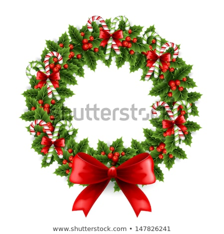 Christmas Wreath with Holly Red Berries and Bow Stock photo © robuart