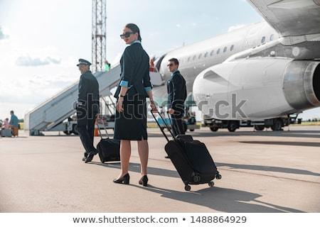 uçuş · şapka · kız · adam · çocuk · seyahat - stok fotoğraf © amaviael