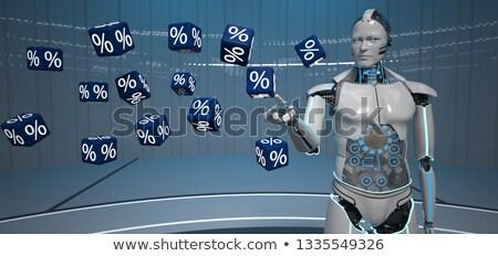 Insansı robot yüzde mavi 3d illustration Stok fotoğraf © limbi007