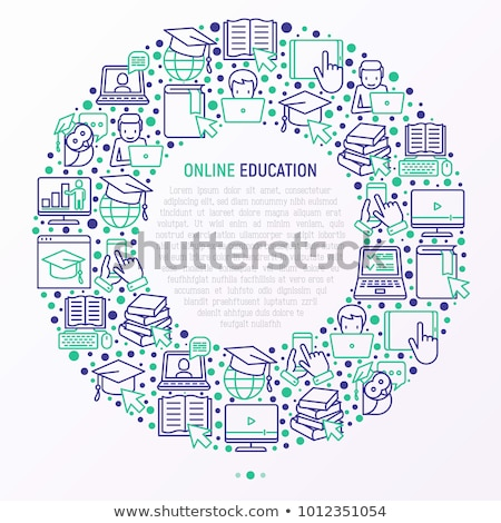 Hand mouse cursor with home icon in the circle. vector illustrat Stock photo © kyryloff