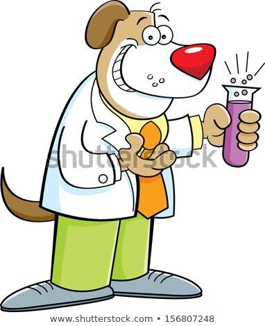 desenho · animado · cão · test · tube · ilustração · sorrir - foto stock © bennerdesign