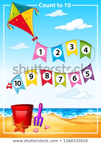 Count number summer beach template Stock photo © bluering