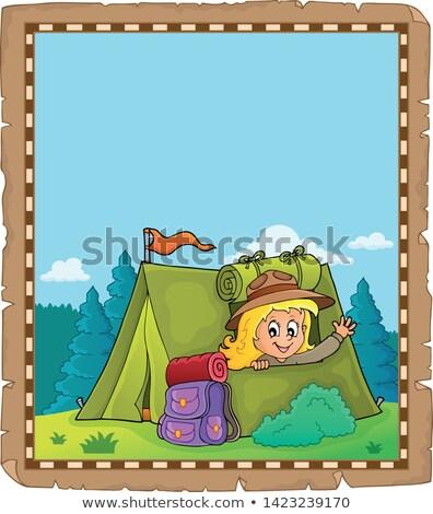 羊皮紙 スカウト 少女 テント 紙 幸せ ストックフォト © clairev