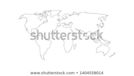 Vector Linear World Map, editable stroke. vector illustration isolated on white background. Stock photo © kyryloff