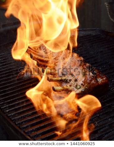 Stock fotó: Forró · lángok · grillezett · fogas · bárány · grillezett · hús