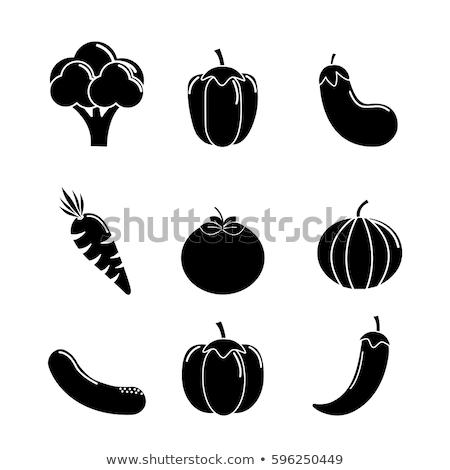 digital vector green vegetable icons set stock photo © frimufilms