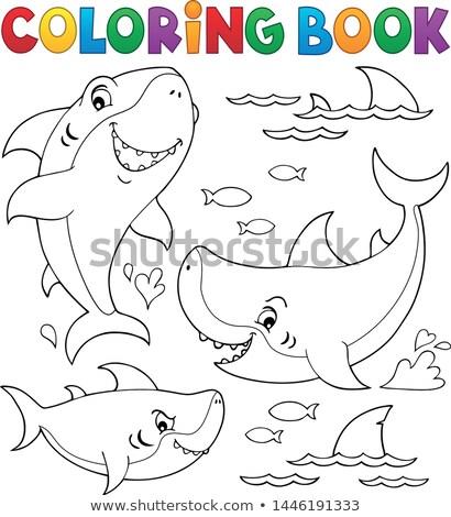 книжка-раскраска акула тема коллекция книга морем Сток-фото © clairev