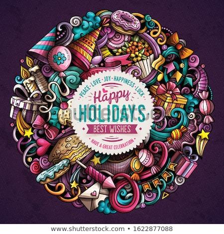 Holiday hand drawn vector doodles illustration. Birthday poster design. Stock photo © balabolka