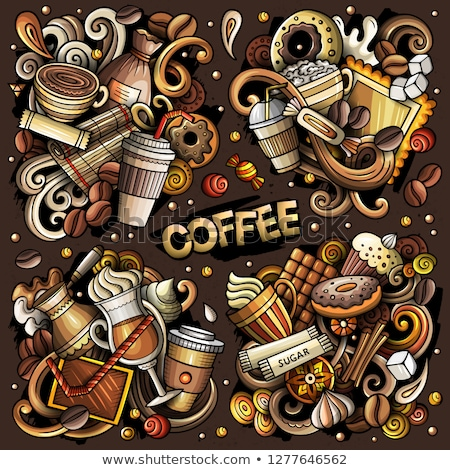 colorful vector hand drawn doodles cartoon set of tea combinations stock photo © balabolka