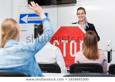 Nauczyciel klasy jazdy lekcje ruchu znaki Zdjęcia stock © Kzenon