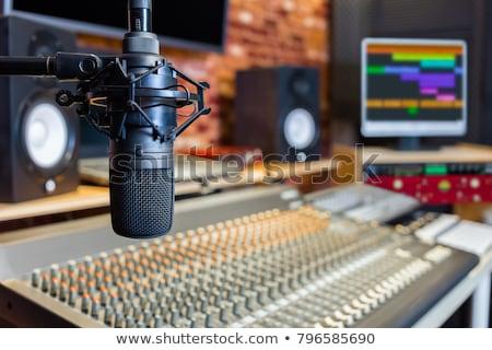 microphones at recording studio or radio station Stock photo © dolgachov