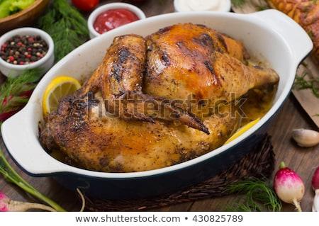 Pollo a la parrilla ajo crema delicioso Bruselas Foto stock © Peteer