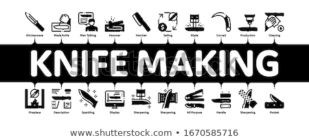 Knife Making Utensil Minimal Infographic Banner Vector Stock photo © pikepicture
