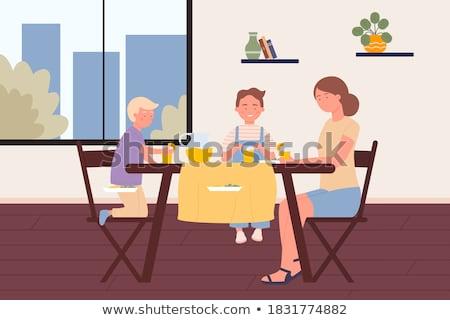 Cena menino alimentação saudável café da manhã casa ilustração Foto stock © bluering