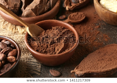 Natural cocoa powder, cocoa beans and chocolate Stock photo © furmanphoto