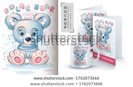 Cute полярный медведь плакат прибыль на акцию 10 ребенка Сток-фото © rwgusev