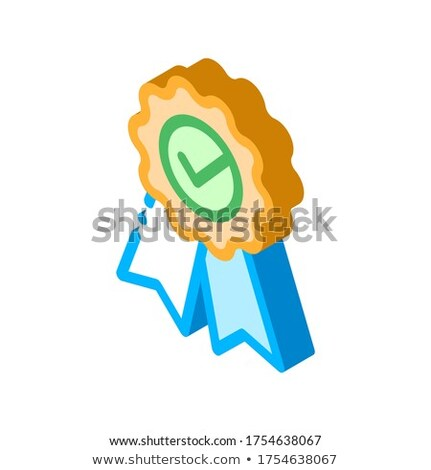 Сток-фото: Medal Order With Ribbon Approved Mark Isometric Icon