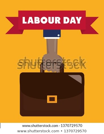 businessman with portfolio and lifted hand Stock photo © Paha_L