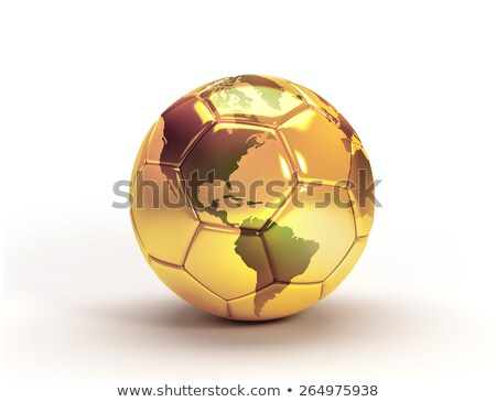 3d golden soccer ball with continents stock photo © chrisroll
